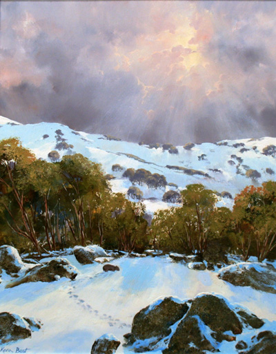 morpeth art gallery, hunter valley, newcastle, nsw, investment art, fine art, original, artwork, collector, investment, artist, oil, landscape, australian bush, sheep, cattle, rays of light, kevin best, stretched canvas, tracks on the snow, light, outback, high country, muster