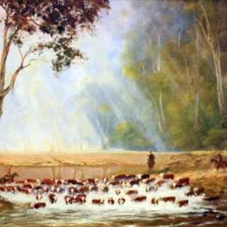 morpeth art gallery, hunter valley, newcastle, nsw, investment art, fine art, original, artwork, collector, investment, artist, oil, landscape, australian bush, sheep, cattle, rays of light, kevin best, cattle crossing at the seven mile, stretched canvas, light, outback, high country, muster