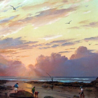 morpeth art gallery, hunter valley, newcastle, nsw, investment art, fine art, original, artwork, collector, investment, artist, oil, landscape, australian bush, sheep, cattle, rays of light, kevin best, stretched canvas, fishing at yamba, light, outback, high country, muster