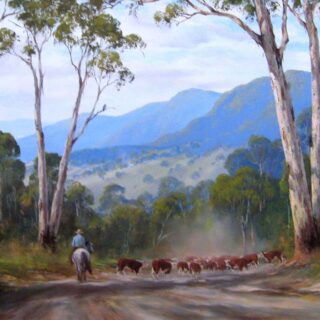 morpeth art gallery, hunter valley, newcastle, nsw, investment art, fine art, original, artwork, collector, investment, artist, oil, landscape, australian bush, sheep, cattle, rays of light, kevin best, the rear guard, stretched canvas, light, outback, high country, muster