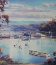 Tranquil Moorings – Swansea Print by John Bradley