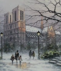 Wintre Notre Dame Giclee on Canvas by Ramon Ward-Thompson