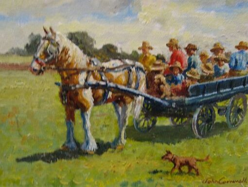 morpeth art gallery, hunter valley, newcastle, nsw, investment art, fine art, original, artwork, collector, investment, artist, portrait, oil, stretched canvas, pinto with a cartful of kids, john cornwell, canvas board, wildlife, landscape, acrylic, artists