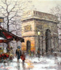 Winter's Morning on the Champs Elysees, Paris