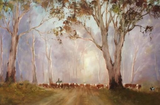 morpeth art gallery, hunter valley, newcastle, nsw, investment art, fine art, original, artwork, collector, investment, artist, oil, landscape, australian bush, sheep, cattle, rays of light, kevin best, on the back road at sunrise, stretched canvas, light, outback, high country, muster