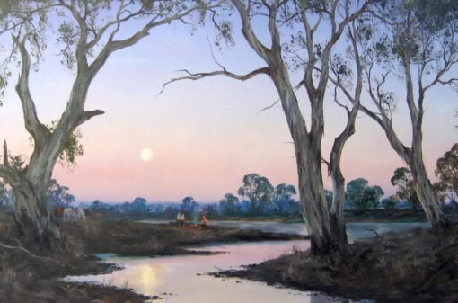morpeth art gallery, hunter valley, newcastle, nsw, investment art, fine art, original, artwork, collector, investment, artist, oil, landscape, australian bush, sheep, cattle, rays of light, kevin best, stretched canvas, twilight at the billabong, light, outback, high country, muster