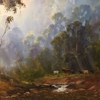 morpeth art gallery, hunter valley, newcastle, nsw, investment art, fine art, original, artwork, collector, investment, artist, oil, landscape, australian bush, sheep, cattle, rays of light, kevin best, brumbies on the move, stretched canvas, light, outback, high country, muster