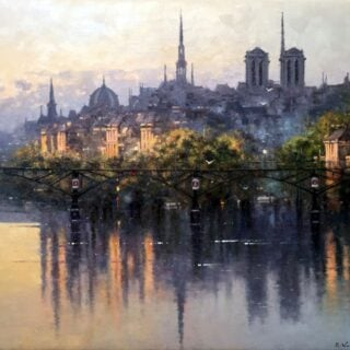 morpeth art gallery, hunter valley, newcastle, nsw, investment art, fine art, original, artwork, collector, investment, artist, oil, board, stretched canvas, new york, paris, begium, linen, london, costwold, sydney, southern highlands, berrima, three colours, romantic, england, europe, european, notre dame, river seine, providence, rue, crocodile hunter,morining light reflection on the river seine, giclee reproductions, australian art gifts