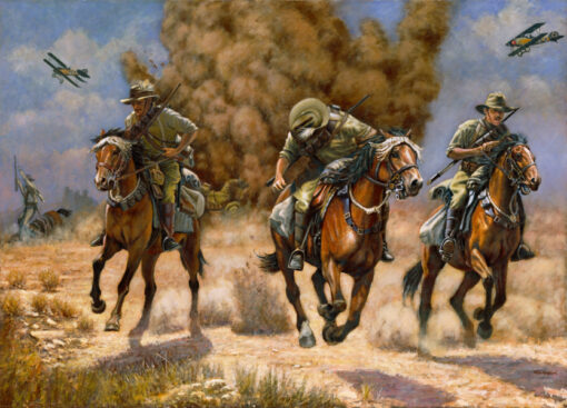 morpeth art gallery, hunter valley, newcastle, nsw, investment art, fine art, original, artwork, collector, investment, artist, military, equine, acrylic, oil, watercolour, board, stretched canvas, australian light horse, military heritage, air attack on the light horse, giclee reproductions, the charge, military, great war,