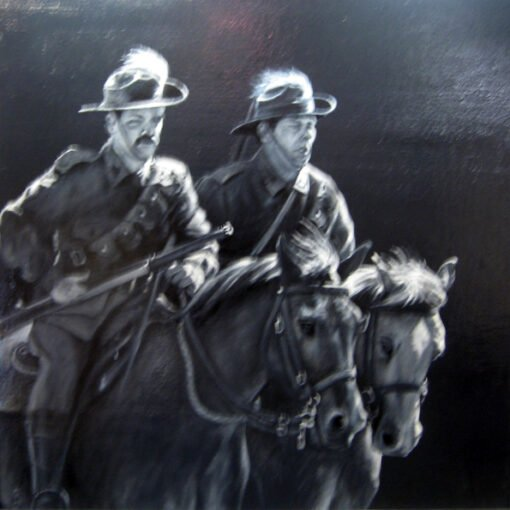 morpeth art gallery, hunter valley, newcastle, nsw, investment art, fine art, original, artwork, collector, investment, artist, military, equine, acrylic, oil, watercolour, board, stretched canvas, australian light horse, military heritage, giclee reproductions, night stunt, the charge, military, great war,