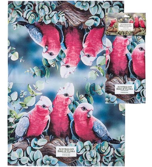 Australia Bird & Flora Collection Galah & Eucalyptus 100% Cotton Tea towel -