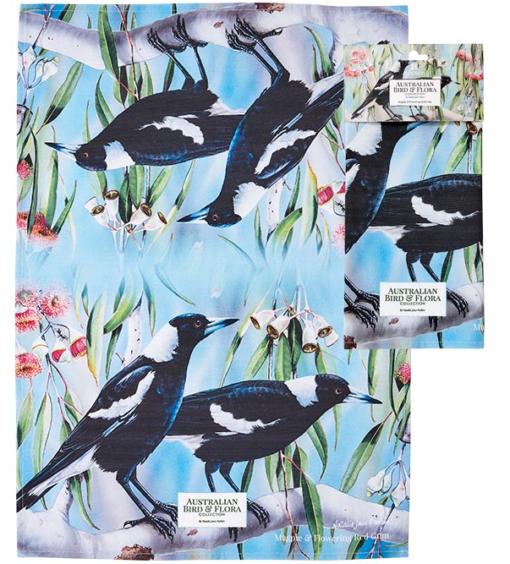 Magpie & Flowering Gum Tea towel -