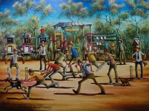 morpeth art gallery, how mcdougal topped the score he seized the ball like lightening, hunter valley, newcastle, nsw, investment art, fine art, original, artwork, collector, investment, artist, oil, watercolour, story teller, australiana, yesteryear, the old days, icon, yarns, australian iconic artist, board, stretched canvas, watercolours, watercolour, cobb and co, bradford exchange, waltzing matilda, gold medallions, gold coins, limited edition, retrospective, australian art gifts, nostalgia