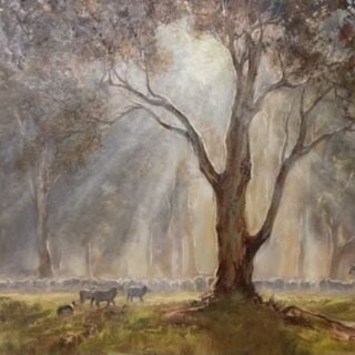 morpeth art gallery, hunter valley, newcastle, nsw, investment art, fine art, original, artwork, collector, investment, artist, oil, landscape, australian bush, sheep, cattle, rays of light, kevin best, on the move early, stretched canvas, light, outback, high country, muster