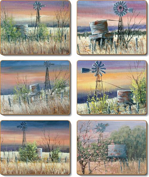Windmills and Water tanks Set 6 Placemats by John Vander -