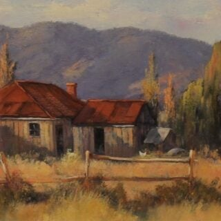 morpeth gallery art pat patricia murphy 30cm x 76cm homestead home from yesteryear