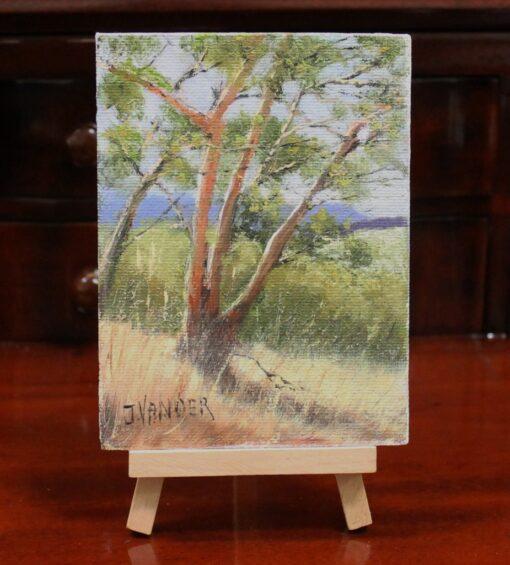 morpeth art gallery hunter valley john vander miniature painting with wooden easel display bush scene hartley 13.5cm x 9.5cm australian gift easy post
