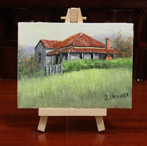 morpeth art gallery hunter valley john vander stroud nsw miniature painting with wooden easel display after the rain 13.5cm x 9.5cm australian gift easy post