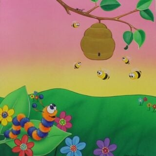 morpeth gallery art natalie jane parker children's book image curly caterpillar counts to five bees